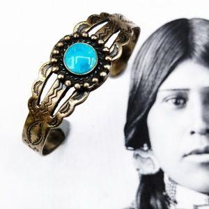 Vintage Sterling Turquoise Navajo Bracelet
